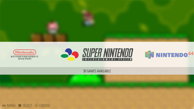 Tela da interface do RetroPie com o sistema Super Nintendo selecionado e Super Mario ao fundo